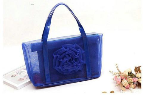 Netscoco fashion flowers mesh bag beach handbag supplier manufacturer dark blue ladies womens