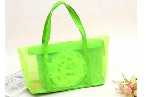 Netscoco fashion flowers mesh bag beach handbag supplier manufacturer green ladies womens