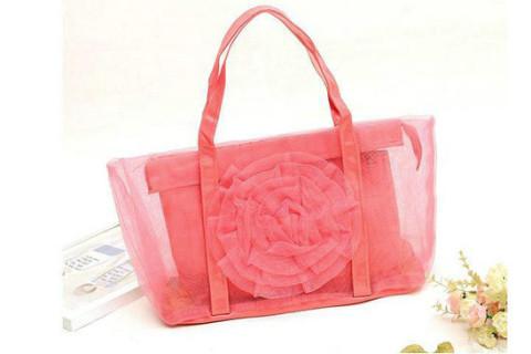 Netscoco fashion flowers mesh bag beach handbag supplier manufacturer watermelon red ladies womens