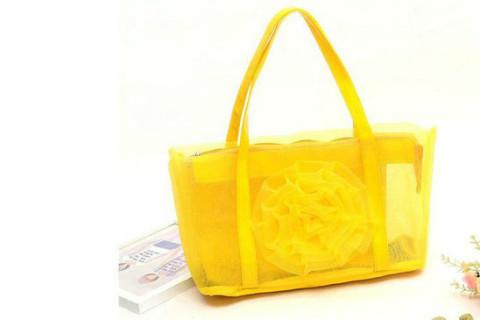 Netscoco fashion flowers mesh bag beach handbag supplier manufacturer yellow ladies womens