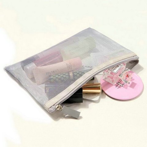 Netscoco Details Image Fashion Mesh Makeup Bag Ladies Cosmetic Bag Women's Travel Toiletry Pouch Silver Mesh Sheer Suppliers Manufacturer Factory New Arrive Picture