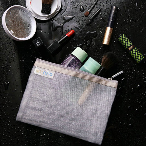 Netscoco Details Show Fashion Mesh Makeup Bag Ladies Cosmetic Bag Women's Travel Toiletry Pouch Silver Mesh Sheer Suppliers Manufacturer Factory Best Seller Gallery New Arrive