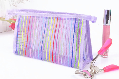 make up bag supplier, make up bag manufacturer, cosmetic bag supplier, cosmetic bag manufacturer, cosmetic pouch bag supplier, cosmetic pouch bag manufacturer, mesh bag supplier, mesh bag manufacturer, , Netscoco Fashion Rainbow Stripes Mesh Pouch Nylon Rainbow Stripes Mesh Bag Rainbow Mesh Makeup Bag Mesh Bag Colorful Travel Cosmetic Bag China Supplier Manufacturers Factory