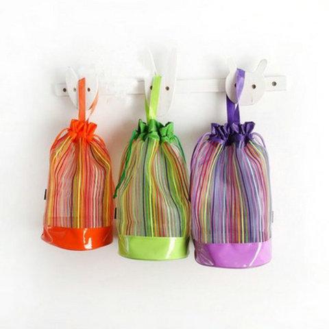Rainbow Stripes Mesh Application: Beach Bag