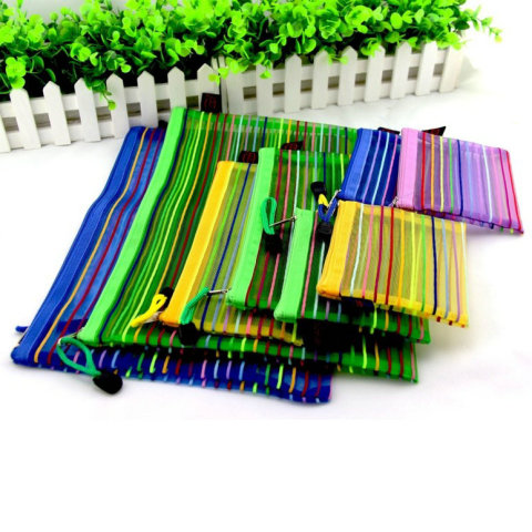 Rainbow Stripes Mesh Application: Stationery Bag