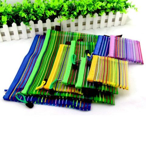 Rainbow Stripes Mesh Application: Stationery Bag