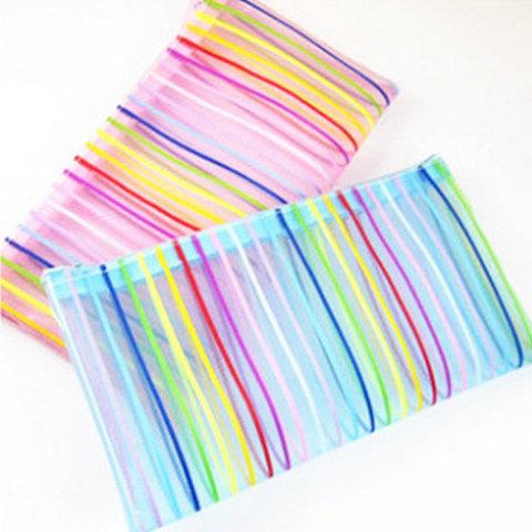 Rainbow Stripes Mesh Application: Make Up Bag