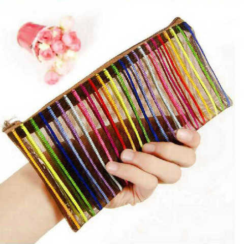 Rainbow Stripes Mesh Application: Make Up Bag