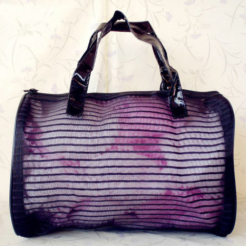 Stripe Lace Nylon Mesh Application Travel bag